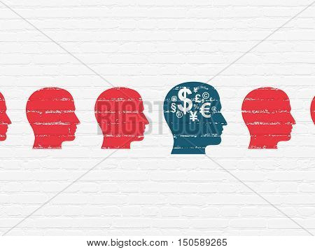 Business concept: row of Painted red head icons around blue head with finance symbol icon on White Brick wall background