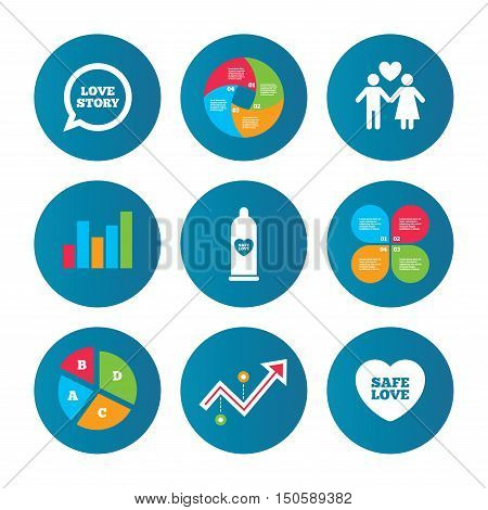 Business pie chart. Growth curve. Presentation buttons. Condom safe sex icons. Lovers couple signs. Male love female. Speech bubble with heart. Data analysis. Vector