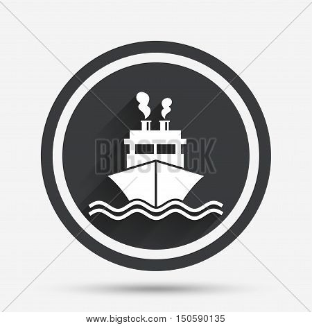 Ship or boat sign icon. Shipping delivery symbol. Smoke from chimneys or pipes. Circle flat button with shadow and border. Vector