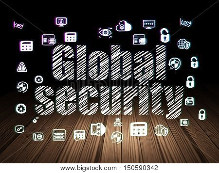 Security concept: Glowing text Global Security,  Hand Drawn Security Icons in grunge dark room with Wooden Floor, black background
