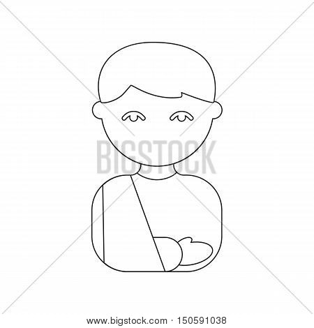 Person with an arm fracture in a sling icon cartoon.