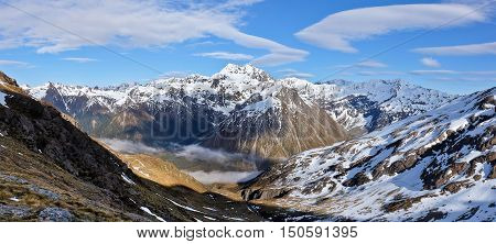 A Wide Panorama of Mt Rolleston and The Southern Alps.  Temple Basin, Arthurs Pass, Canterbury, New Zealand.