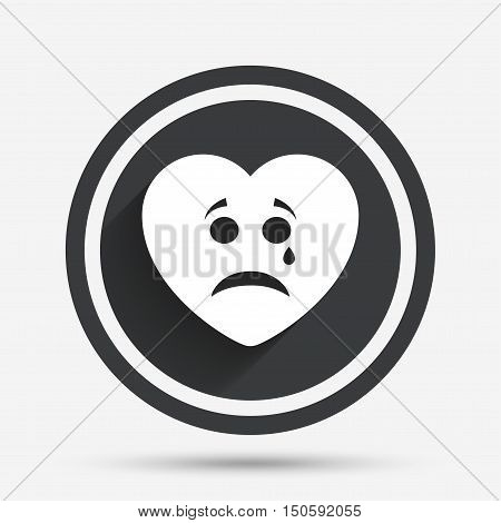 Sad heart face with tear sign icon. Crying chat symbol. Circle flat button with shadow and border. Vector