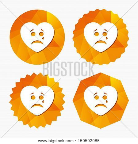 Sad heart face with tear sign icon. Crying chat symbol. Triangular low poly buttons with flat icon. Vector