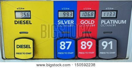 Colorful gas pump shows the price variation of different grades.