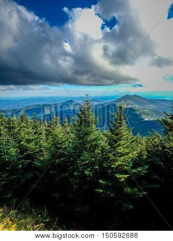 Scenic Views At Sunset On Top Of Mount Mitchell