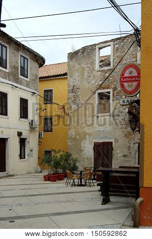 Senj Croatia - September 16 2016: old city. A small town in northern Croatia located on the Adriatic coast. The oldest parts of buildings in the old town come from the fifteenth century. You can see narrow streets and pubs.