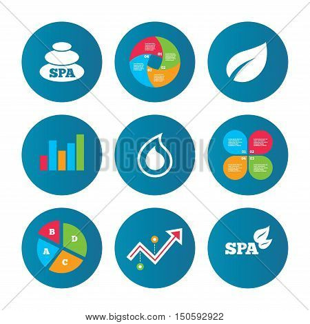 Business pie chart. Growth curve. Presentation buttons. Spa stones icons. Water drop with leaf symbols. Natural tear sign. Data analysis. Vector