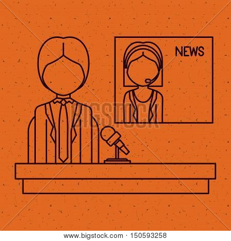 News woman and man Presenter icon. News media communication broadcasting theme. Texture background. Vector illustration