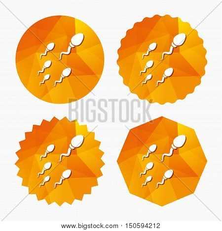 Sperm sign icon. Fertilization or insemination symbol. Race. Triangular low poly buttons with flat icon. Vector