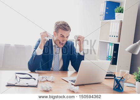 Frustrated  Tired Man  Working With Laptop, Yelling  And Screaming