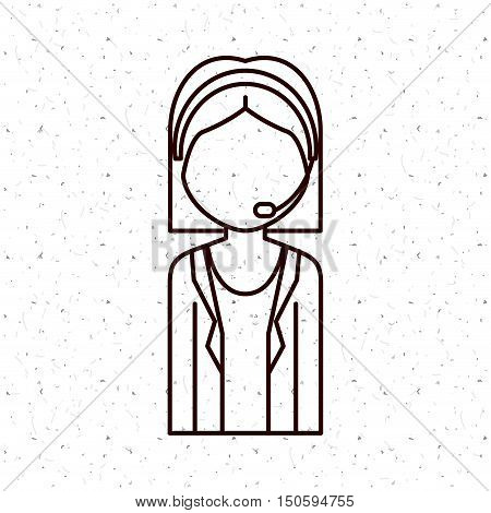 News Presenter woman icon. News media communication broadcasting theme. Texture background. Vector illustration