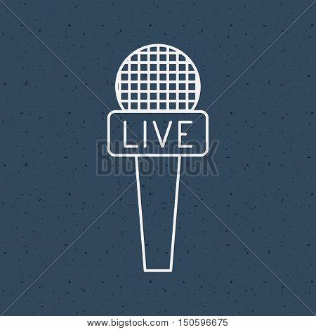 News microphone icon. News media communication broadcasting theme. Texture background. Vector illustration