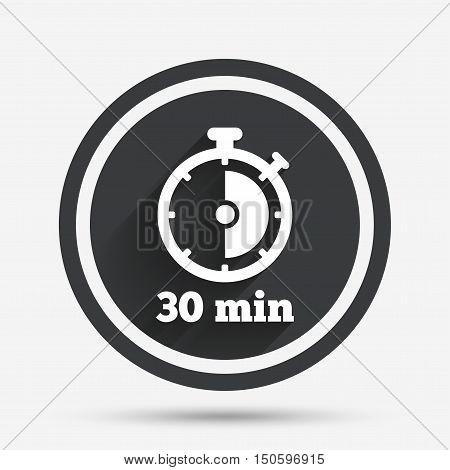 Timer sign icon. 30 minutes stopwatch symbol. Circle flat button with shadow and border. Vector