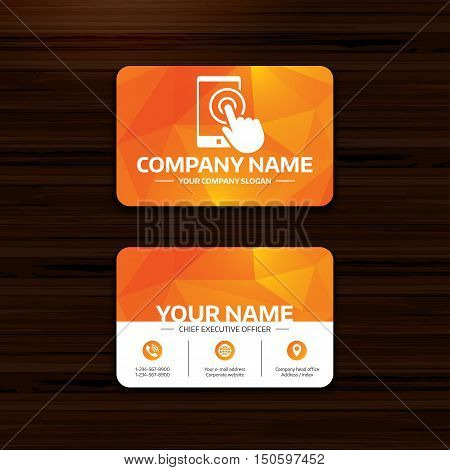 Business or visiting card template. Touch screen smartphone sign icon. Hand pointer symbol. Phone, globe and pointer icons. Vector