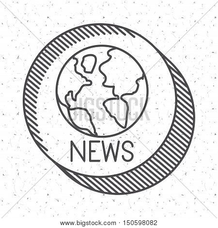 News with planet sphere icon. News media communication broadcasting theme. Texture background. Vector illustration