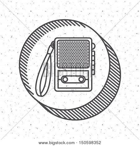 News recorder icon. News media communication broadcasting theme. Texture background. Vector illustration