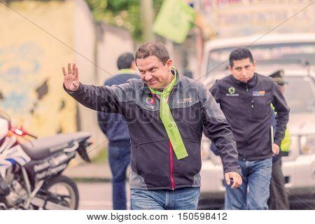 Banos De Agua Santa Ecuador - 23 June 2016: Mayor Of Banos De Agua Santa Marlon Guevara Welcoming People At Center Of The Town Ecuador South America
