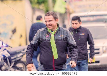 Banos De Agua Santa Ecuador - 23 June 2016: Mayor Of Banos De Agua Santa Marlon Guevara Walking At The Streets Of Town Ecuador South America