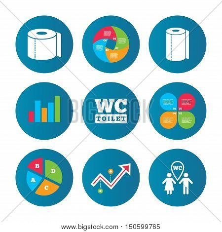 Business pie chart. Growth curve. Presentation buttons. Toilet paper icons. Gents and ladies room signs. Paper towel or kitchen roll. Man and woman symbols. Data analysis. Vector