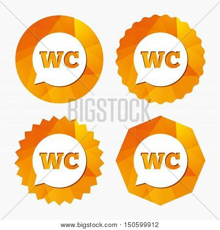 WC Toilet sign icon. Restroom or lavatory speech bubble symbol. Triangular low poly buttons with flat icon. Vector