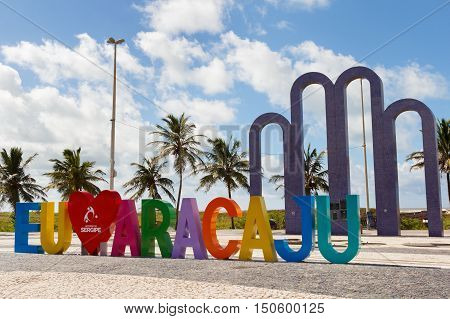 ARACAJU SE/BRAZIL - JUNE 24: Letters I love Aracaju on famous beach Atalaia on June 24 2016 in Aracaju. Aracaju is capital of Sergipe hosts 7 teams for Summer Olympics