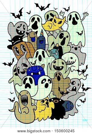 Set Of Cute Halloween Ghost