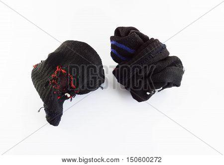 Used Old Socks  On White Background