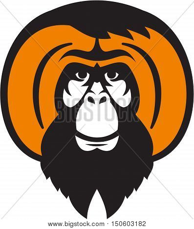 Illustration of an orangutan orang-utan orangutang or orang-utang an Asian species of extant great apes with beard facial hair and tussled hair viewed from front set on isolated white background done in retro style.