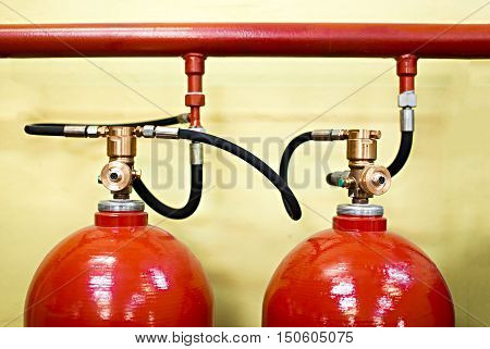 industrial system of a gas fire extinguishing. a closeup of the fire extinguishing system in an office building