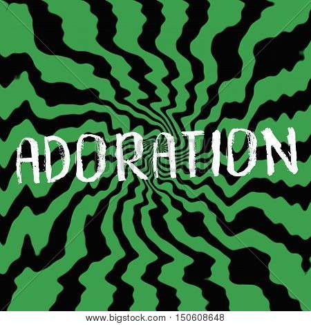 adoration wording on Striped sun black-green background