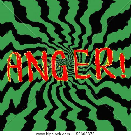 anger red wording on Striped sun black-green background
