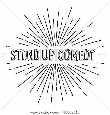 Stand Up Comedy Text Show Sunrays Retro Theme
