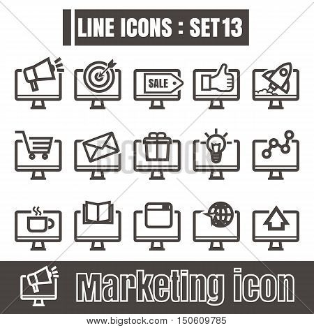 icon computer online marketing line black Modern Style vector on white background