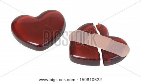 Broken Red heart mended with a bandage - path included