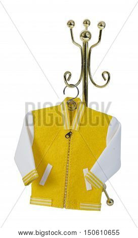 Student letterman jacket on a coat rack - path included