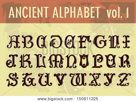 Ancient alphabet: ornamental calligraphic letters from 13th century. Full 26 letters alphabet.