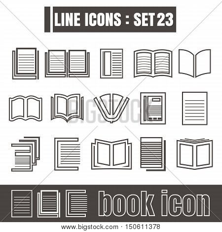 icons set book line black Modern Style design elements Geometry Straight lines curves vector on white background