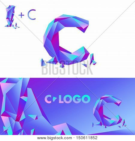 Template C brand name companies. Corporate Identity for the company with the letter C: logo, background. Creative logo, bulk ice DIAMOND GLASS letter C