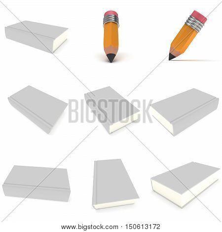 Blank book cover over white background and pencil set. 3D render illustration isolated on white. Studing Back to school concept collection.