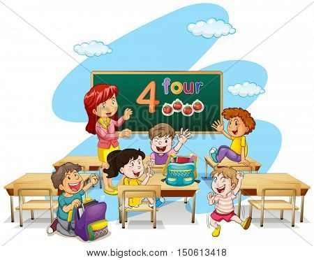 Teacher teaching students in classroom illustration
