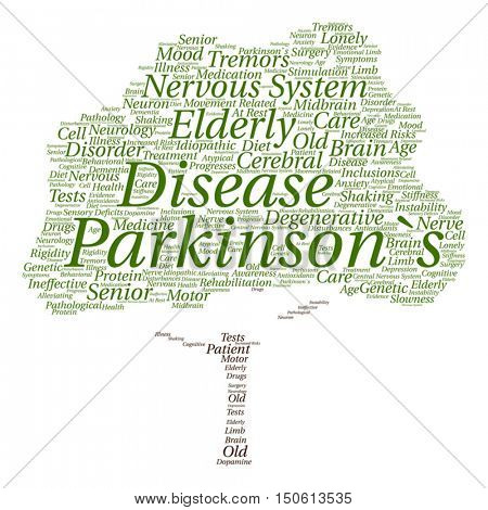 Vector concept conceptual Parkinson`s disease healthcare or nervous system disorder abstract tree word cloud isolated on background metaphor to healthcare, illness, degenerative, genetic symptom brain