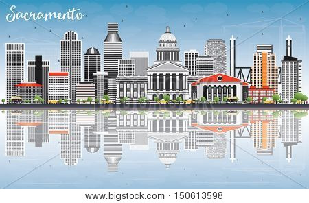 Sacramento Skyline with Gray Buildings, Blue Sky and Reflections. Business Travel and Tourism Concept with Modern Architecture. Image for Presentation Banner Placard and Web Site.