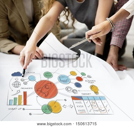 Business Strategy Design Plan Drawing Concept