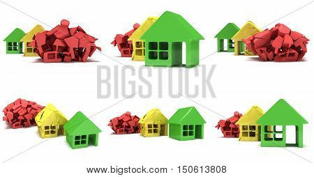 Colored houses in varying phases of destruction set. Real estate rent building home mortgage money concept. 3d render illustration icon.