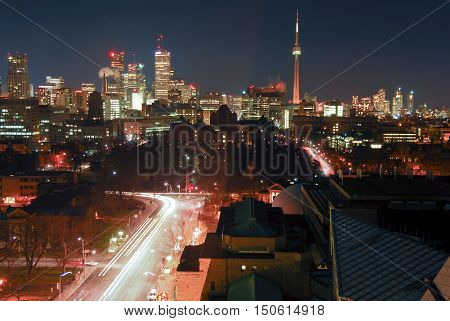 Toronto Canada - December 30 2006: Aerial Toronto downtown cityscape at night.