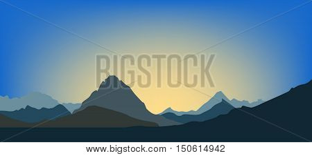 Landscape. Dawn in the mountains. Vector illustration background travel