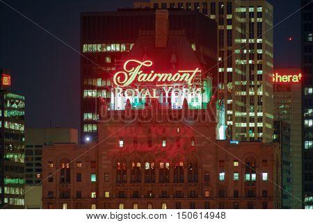 Toronto Canada - January 2 2007: Fairmont Royal York Hotel sign in Toronto lit up at night.