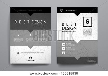 Set of brochure, poster templates in Molecular structure style. Beautiful design and layout