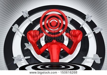 Target Head 3D Illustration